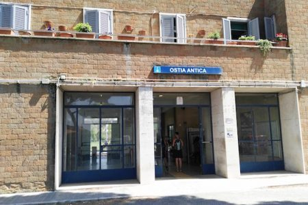 Railway Station of Ostia Antica heading to the center of Rome and Ostia